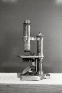 Microscope given to Carver by faculty members of Iowa State College