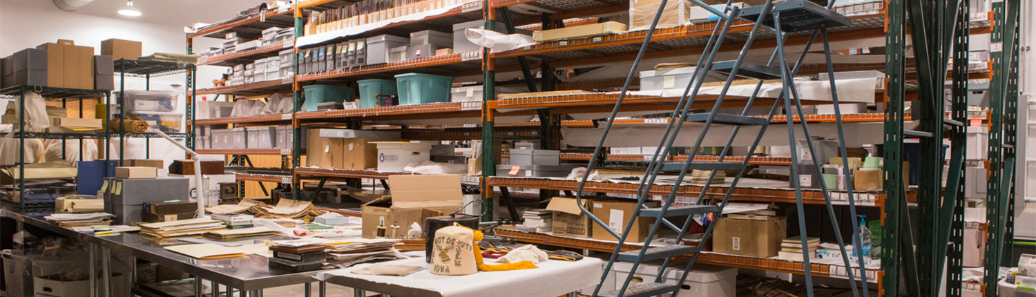 Shelves filled with boxes and museum collections